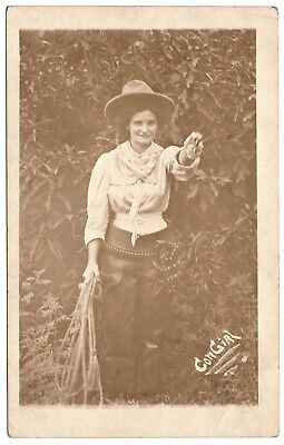 real photo Cowgirl chaps rope hat gun bullet belt antique postcard RPPC