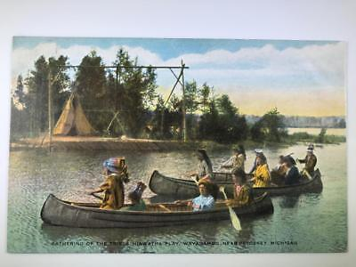 Early Native American Postcard Hiawatha Play, Wayagamug, Near Petoskey, Michigan