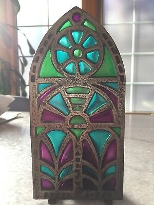 "Antique, Japan/Japanese ""HH"" Stained Glass/Cast Iron Candle Holder Church Window"