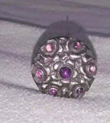 Fabulous Antique Victorian Ornate Hatpin Amethyst Glass Silver-Tone Setting