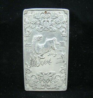 Collectable Handmade Carved Statue Tibet Silver Amulet Pendant Zodiac Horse