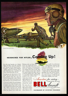 1942 Vintage Print Ad 40's WWII airplane BELL Aircraft headache for hitler war