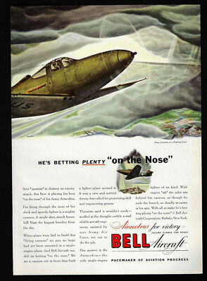 1942 Vintage Print Ad 40's WWII airplane BELL AIRCRAFT airacobra image art