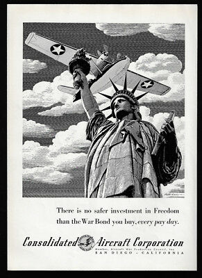 1942 Vintage Print Ad 40's WWII airplane CONSOLIDATED AIRCRAFT statue of liberty