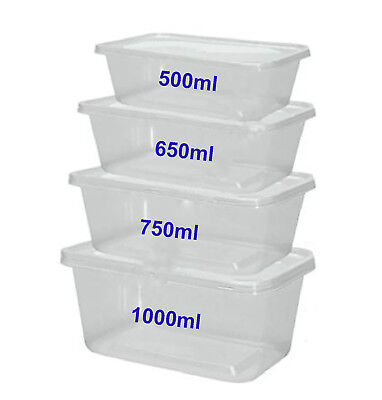 Miicrowave Clear Plastic Food Containers Tubs + LIds Takeaway Food Reusable