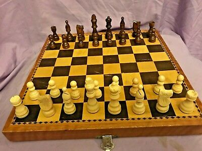 "Classic Wooden CHESS SET Folding Board Game with storage 12"" board King 2.5"""