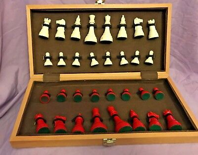 Classic Wooden CHESS SET Folding Board Game, plastic weighted pieces King 2.5""