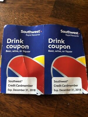 2 Southwest Airlines Drink Coupons Expiring Dec 31, 2018