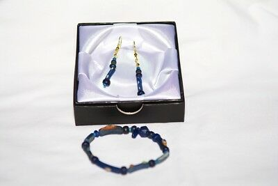 Ancient Roman Restrung Blue Glass Bead Bracelet & Earrings 100 - 300 A.d.