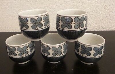 Set of 5 Blue & White Hand Painted Otagiri Sake or Tea Cups - Made in Japan
