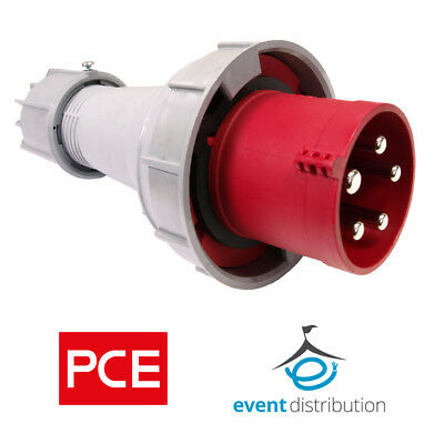 PCE 63 AMP 3P+N+E 415V IP67 Rated Trailing Plug 5 Pin 63A Waterproof 3 Phase