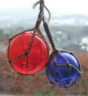 TWO Vintage Coloured Glass Netted Witch Balls