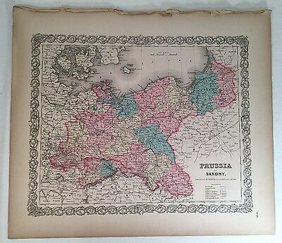 PRUSSIA and SAXONY, No 16, Antique Atlas Map 1855 Colton World Maps +