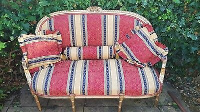 vintage Rocco syle Broquade gold gilded sofa /chaise/couch. bench vintage