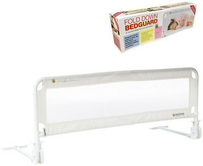 Baby Folding Down Bed Guard Rail Toddler Cot Safety White Protection
