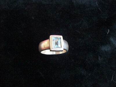 Beautiful Large Sterling Silver .925 Ladies Ring Light Blue Center Stone India