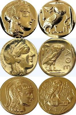 Athena & Owl, 3 Versions of Famous Greek Coins, Percy Jackson Fans (3ATHOWL-G)