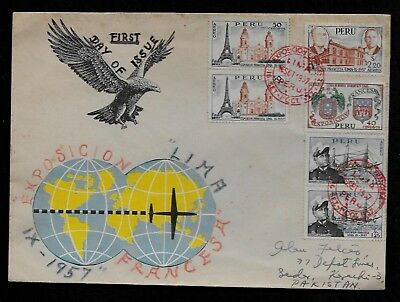 1957 Peru FDC French Expo C127-C130 Lima First Day Cover