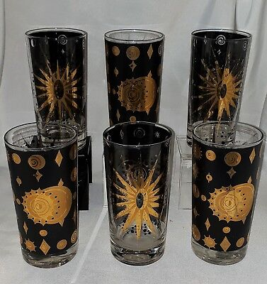 FRED PRESS set of 6 MID CENTURY VINTAGE TUMBLER BLACK GOLD ECLIPSE ATOMIC STAR