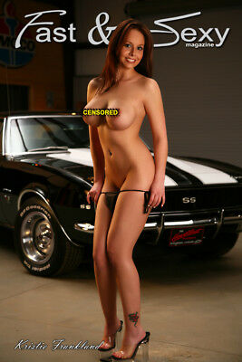 Nude Model with 1967 Camaro SS Poster 12x18