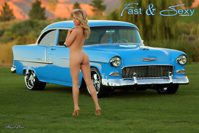 Perfect Ass Blonde with 1955 Chevy Bel Air  Poster 12x18