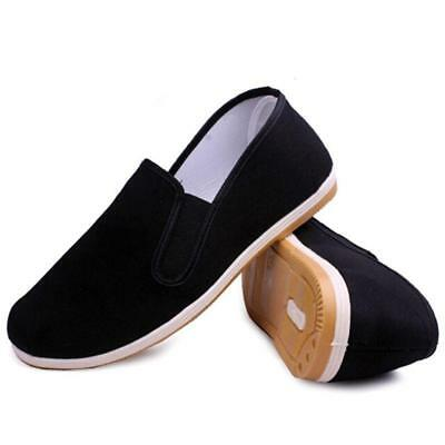 Mens Flat Chinese Cloth shoes Handmade Kung Fu Round Toe Slip On Shoes Loafers