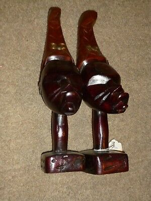 Vintage Hand Carved Wood Statues Head  Face African Tribal Figurine