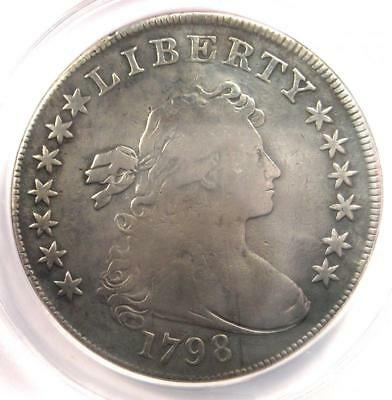 1798 Draped Bust Silver Dollar $1 - Certified ANACS F12 Details - Rare Coin!