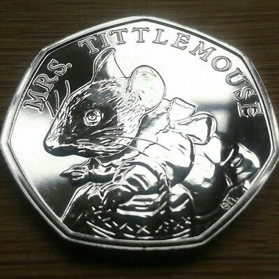 2018 Mrs. Tittlemouse 50p Fifty Pence Coin UNC - Uncirculated