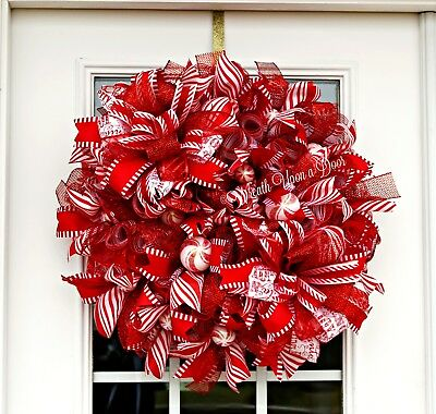 Peppermint Candy Mesh Wreath, Large Red and White Christmas Wreath, Winter Porch