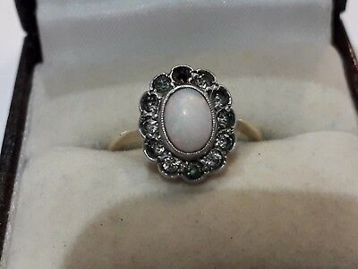 Antique  9 ct gold opal with gemstones (tarnished )  ring.... size K