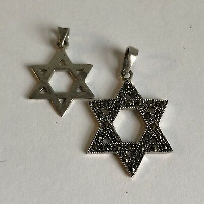 Two Sterling Silver Star Of David Pendants