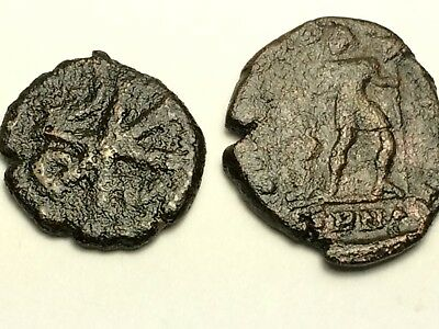 ANCIENT AUTH. 2 Coins; CHI-RHO JUSTINIAN I 527 - 565 AD & ROMAN, DRAGGING 307 AD