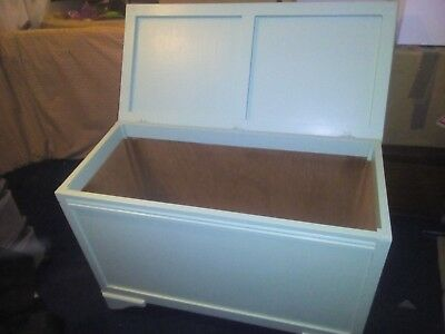 Toy Box or Blanket Box.  Good Condition on castors.  Light Green