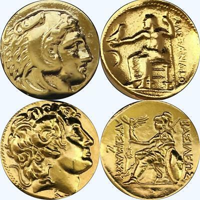 Alexander the Great, 2 Greek Coins, Percy Jackson Fans, Greek Mythology (1+34-G)