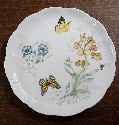 """2 Lenox BUTTERFLY MEADOW 10-7/8"""" Monarch Dinner Plates EXCELLENT"""