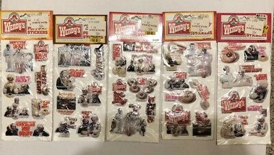 NEW Wendy's 1980s Where's The Beef? Puffy Stickers Fast Food Vintage Advertising