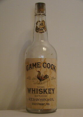 ' Game Cock ' Whiskey Bottle - Graphic !
