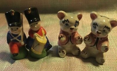 Lot of 2 Vintage Salt and Pepper Shakers-Teddy Bears And Soldiers
