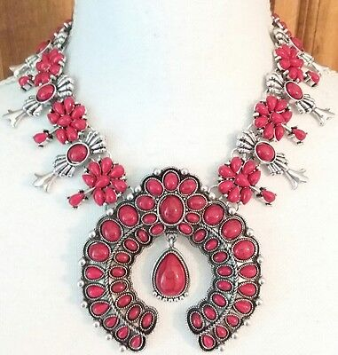 Gorgeous Red Coral Resin Beads Cabochon Squash Blossom Statement Runway Necklace