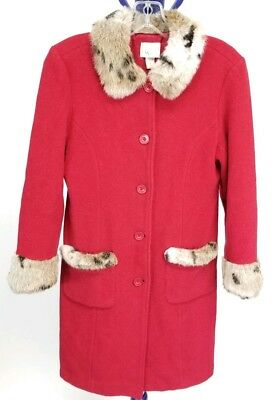 Vintage The Child's Place Girls Size XL 14 Wool Red Faux Fur Trim Button Up Coat