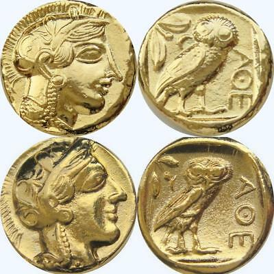 Athena & Owl 2 Versions Goddess of Wisdom Greek Coins Percy Jackson Fans(12+77G)