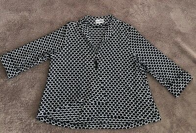 AS NEW JOSEPH RIBKOFF Black White Print Asymmetrical A-Line Swing Jacket 20 - 22