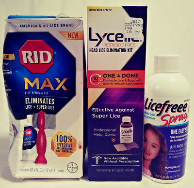 Lycelle /  Rid Max / Licefree Spray 3 Pack Head Lice Elimination Free Shipping