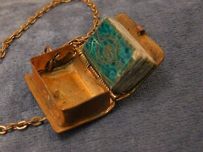 MUST SEE Egyptian Revival RARE Book Locket w Religious Book Gold Filled Necklace