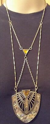 Fabulous Art Deco Style Golden & Abalone Shell Tribal Statement Long Necklace