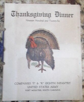 Thanksgiving Dinner, 8th Infantry, Fort Moultrie, South Carolina 1926 Menu