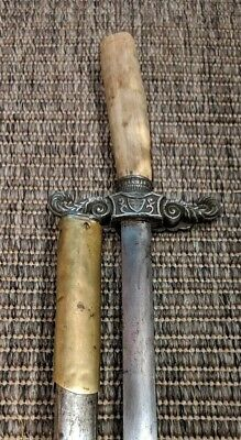 Antique European Stag Handle Sword With Eagle Cross Guard