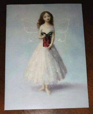 Beautiful Fairy with gift Christmas Card w/envelope, glitter accented