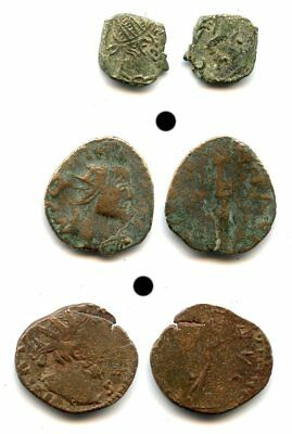 Lot of 3 ancient barbarous radiates, minted ca.270-280 CE, Roman Gaul